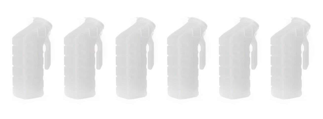 Deluxe Male Urinal 32oz./1000ml w/Cover (Pack of 6, Standard Lid)