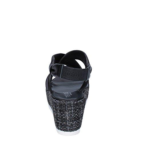 Mujer de Jolie Piel Negro Tres Para Negro Sandalias Vestir de x0R7Iq