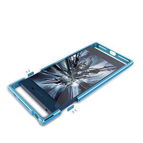 Sony Xperia XZ Hülle, Moonmini® Luxury Aluminium Metall Frame Bumper Stoßfest Schutz Schutzhülle für Sony Xperia XZ Blau
