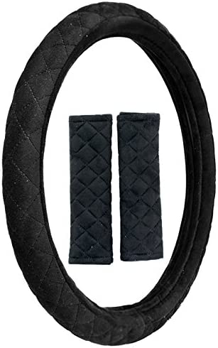 Custom Accessories 38852P Black and Grey Combo Steering Wheel Cover