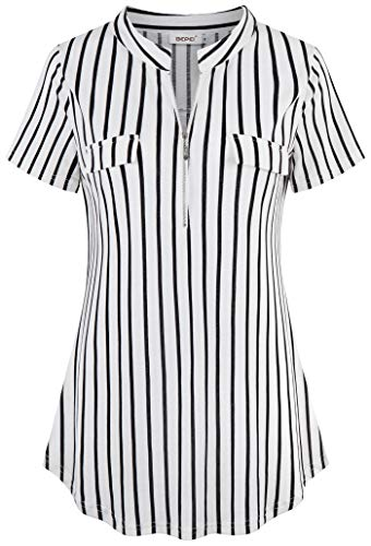 BEPEI Striped Blouses for Women,V Neck Tops Patchwork Checkred Ruffled Swingy Tunic Shirt Designer Apparel Slender Weekend Undershirt Trend Baggy Clothing Church Outdoor Daily Wear Black White M