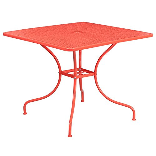 Westbury Square 35.5'' Coral Steel Table, 28.75''H