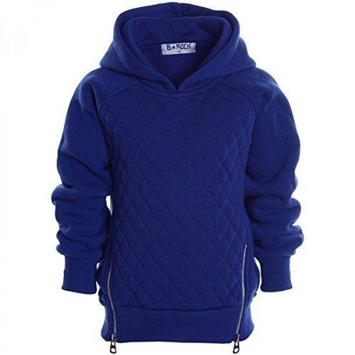 Kinder Pullover Kapuzenpullover Hoodie Jacke Sweatshirt Kapuzen Sweatjacke 20526, Farbe:Blau;Größe:152