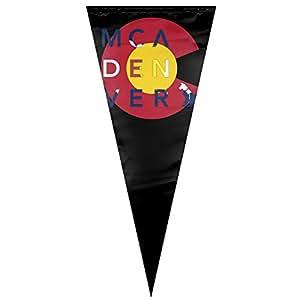 MCA Denver Colorado bandera trigangle con forma de casa jardín bandera