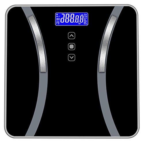 Transer- [US Stock] Body Fat Scale, Smart Digital Bathroom Weight Scale Body Composition Analyzer Health Monitor for Body Weight, Fat, Water & Bone Mass, BMI, Muscle Mass, Calories, 400 lbs (black) by Transer-