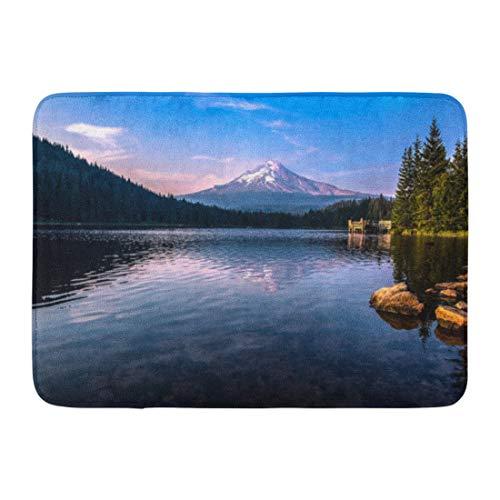 """Emvency Doormats Bath Rugs Outdoor/Indoor Door Mat Blue Oregon Mountain Reflections from The Lake Portland Trillium Water Bathroom Decor Rug 16"""" x 24"""""""