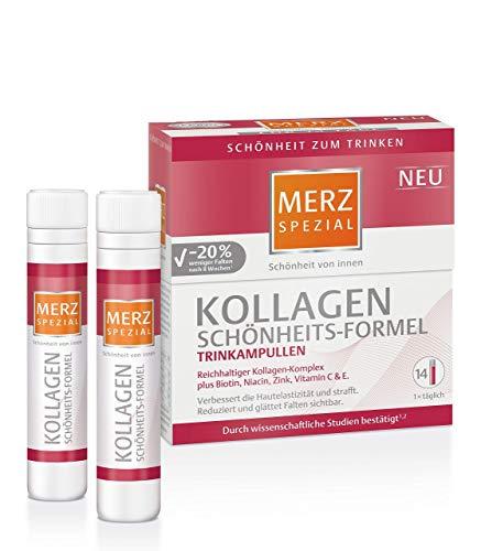 Merz Spezial Kollagen Schönheits-Formel Trinkampullen – Reichhaltiger Kollagen-Komplex mit Biotin, Niacin, Zink, Vitamin C & E – 14 x 25 ml