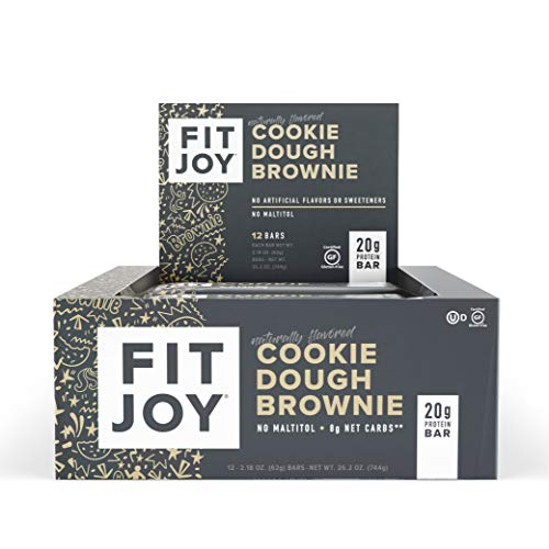 FitJoy Protein Bar, Gluten Free, Low Sugar, High Protein Snack, Cookie Dough Brownie, Pack of 12 Bars