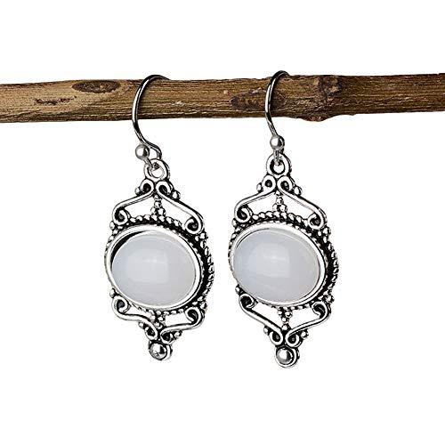 (lightclub Blue Vintage Women Carved Faux Turquoise Opal Ear Hooks Earrings Dangle Dangling Drop Earrings Party Jewelry Gift White)