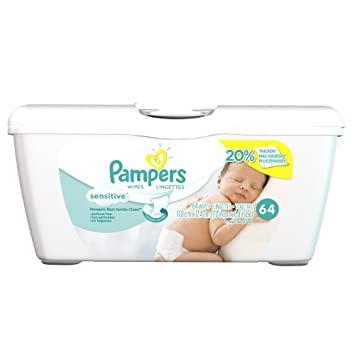pampers baby wipes tub sensitive 64 wipes tub model p g302455