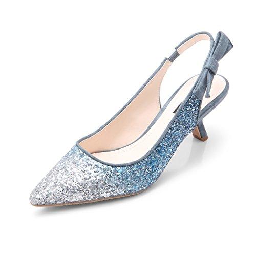 Honor 38 Verano De Fina o Mujer ZCJB De De Lentejuelas Tama Dama Sandalias Zapatos Novia Aguja Primavera Altos Elegantes Con De Zapatos Azul Tacones De Tacones Color Zapatos De OIqwAq6f