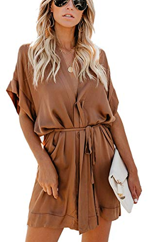Shineya Women Casual V Neck Dress Batwing Short Sleeve T Shirt Dress Boho Floral Kimono Dress with Belt (DREK Khaki, XL) ()
