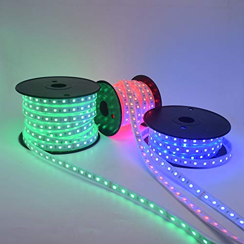 120 Ft RGB Music Control LED Strip Light Kit Waterproof Long Runs Continuous Length Outdoor Landscape Rope Light with Audio Input Sound Sensor RF Controller & Power Supply by Brillight (Image #1)