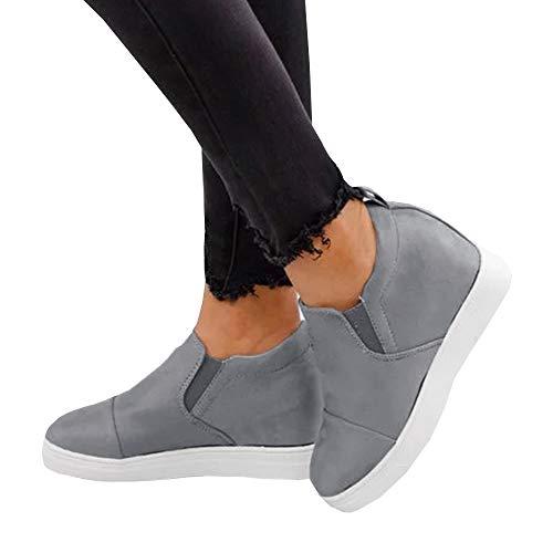 LAICIGO Women Winter Faux Suede Sneaker Leather Wedge Heel Shoes