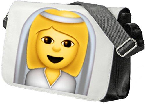 """Schultertasche """"Braut mit Schleier"""" Schultasche, Sidebag, Handtasche, Sporttasche, Fitness, Rucksack, Emoji, Smiley"""