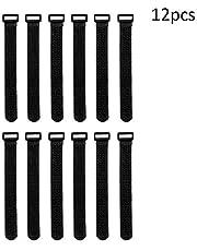 Sulida Attache Cable Réutilisables et Réglables avec Boucle, Scratch Cable, Serre Cables pour L'Organisation du Cordon (S-12psc)