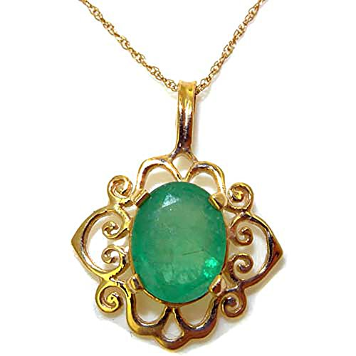 Womens Solid Yellow 10K Gold Natural Emerald Pendant - Pendant Gold Estate