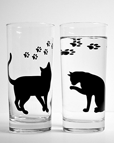 Cat Tumbler Set - Cat and Paws Everyday Drinking Glasses - Set of 2 Cat Glasses, Gift for Her, Cat Lover Gift, Cats