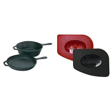 Lodge LCC3 Pre-Seasoned Cast-Iron Combo Cooker, 3.2-Quart and Lodge SCRAPERPK Durable Polycarbonate Pan Scrapers, Red and Black, 2-Pack Bundle