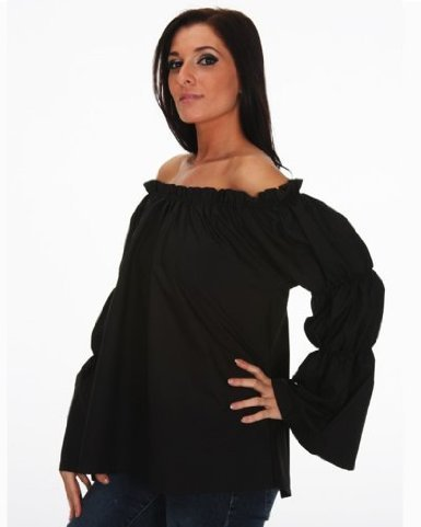 Halloween Renaissance Pirate Black Chemise Top Medieval Peasant Wench (Wench Costume Shirt)