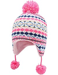 Connectyle Toddler Kids Winter Warm Hat with Earflap Beanies Fleece Lined Knit Beanie Cap Pink