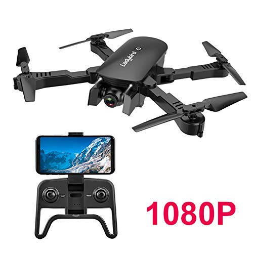 Adsvtech WiFi FPV RC Drone with Double 1080 HD Camera for Beginners Foldable Quadcopter, Automatic Beauty, Gesture Photography, Trajectory Flight Black