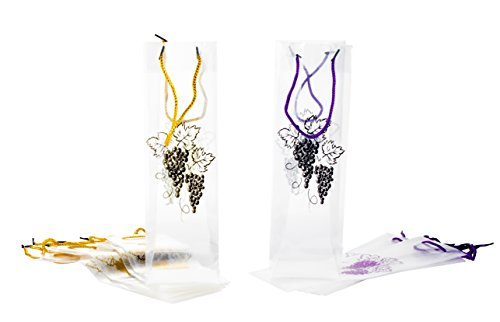 Wine Gift Bags - 12-Pack Wine Bags for Anniversary, Birthday, All Occasion - Vineyard Design/Gold and Purple Grapes Theme, Spirits and Wine Bottle Gift Bags with Handles ()