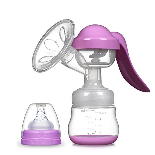 Manual Breast Milk Hand Pump Set Nipple Pumping Suction Breastmilk Pump with Baby Feeding Milk Bottle for Mothers Maternal (Purple) by Dalle Craft