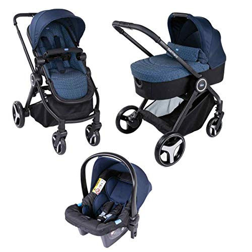 Chicco 4079146790000 Trio Best Friends Light Cochecito 3 in 1, 0 Meses +, Azul (Stone)