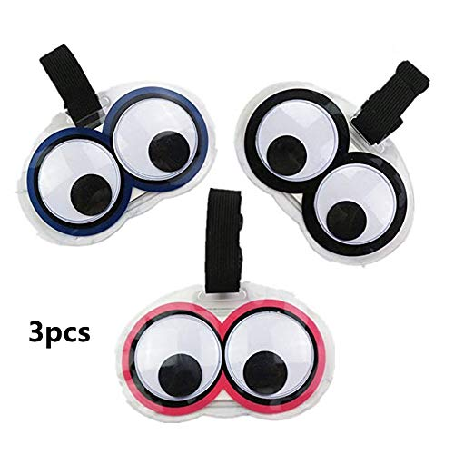 King&Pig New Cute 3pcs Eyes Luggage Tags Suitcase Luggage Tags Travel Accessories Baggage Name Tags (Multicoloured)