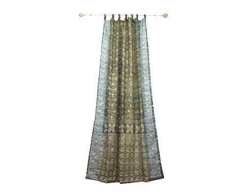 Spectrum Teal Green - GREEN CURTAIN Window Treatment Draperies Boho Curtains over 20 colors Sari panel 108 96 84 inch for bedroom living room dining room yoga studio canopy boho tent W GIFT bag SAGE GREEN Teal Curtains