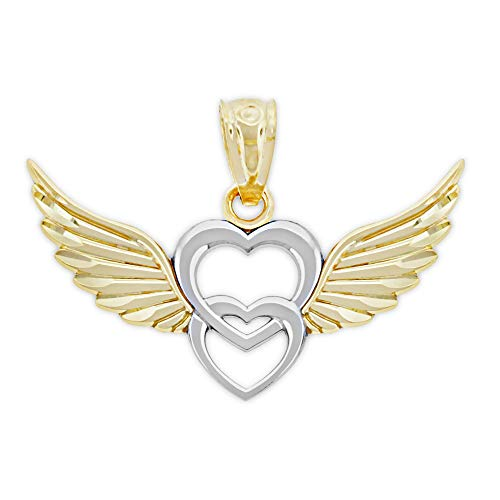 Charm America - Gold Angel Winged Heart Charm - 10 Karat Solid Gold