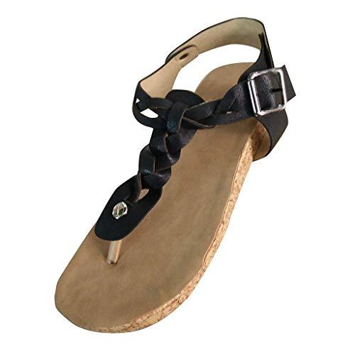 Aunimeifly Ladies Casual Retro Sandals Twist Braided Clip Toe Flat Open Heels Women's Roman Sandals Black ()