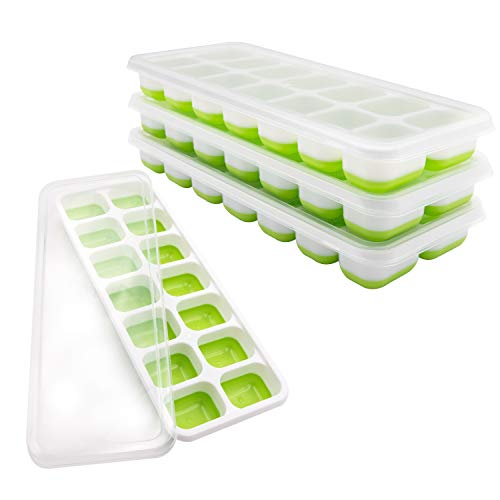 Ice Cube Trays, Easy Realease Ice Cube Tray Silicon with Lid Stackable Ice Cube Molds Tools for Whiskey Cocktail Beverages Juice 4 Pack