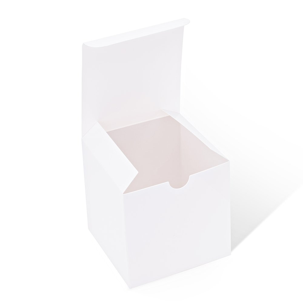 MESHA White Boxes 10 Pack 4 x 4 x 4 Inches, White Paper Gift Boxes with Lids for Gifts, Crafting, Cupcake Boxes 4596548775497