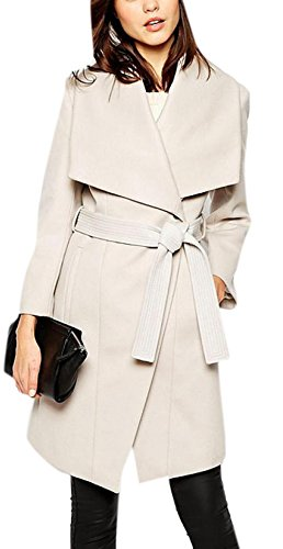 Enlishop Women Winter Shawl Collar One Button Belted White Long Wrap Coat (Belted Tweed Belt)