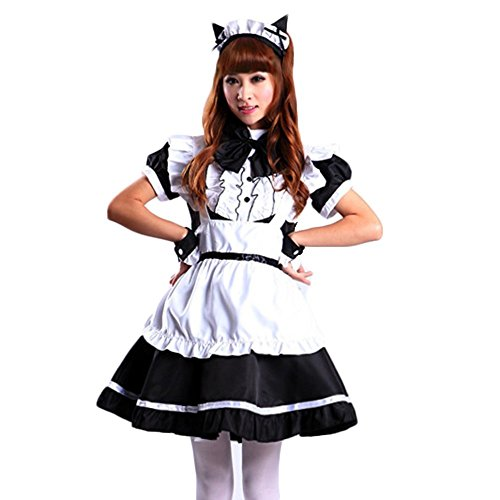 [Treasure-box Women's Cat Ear French Maid Cosplay Dresses Halloween Costume (X-Large, Black)] (Halloween French Maid Costumes)