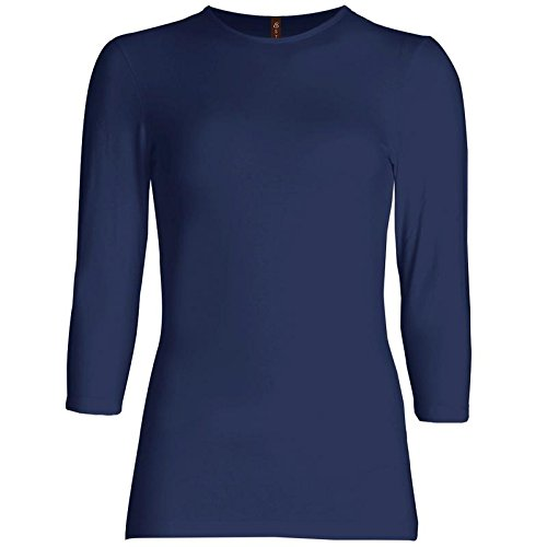 Esteez Womens 3/4 Sleeve Shirt SNUG FIT EX801941 NAVY X-Large