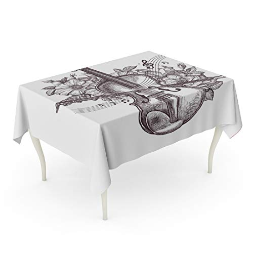 Tarolo Rectangle Tablecloth 60 x 84 Inch Orchestra Vintage Fiddle Retro The Violin and Flowers Sketch Music Musician Sheet Roses Table ()