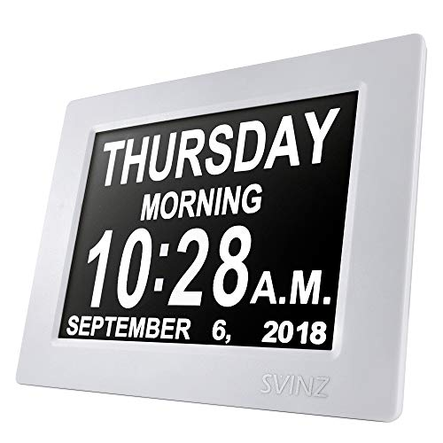 SVINZ 8' Digital Calendar Alarm Day Clock with 3 Alarm Options, Extra Large Non-Abbreviated Day & Month SDC008-2 Color Display Settings
