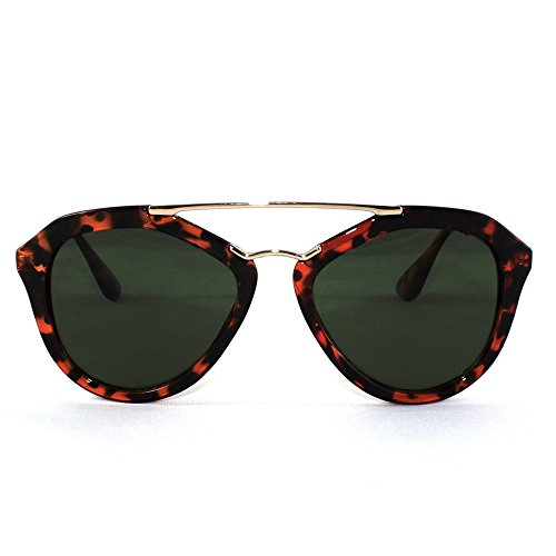 Big Apple Studio Horn Style Aviator Cat Eye Wire Bridge Metal Sunglasses (Sunglasses 6188)