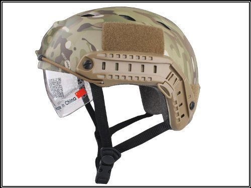 H World Shopping Tactical Airsoft Emerson Paintball Fast Helmet BJ Type with Protective Goggles Multicam MC