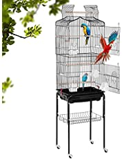 BestPet Bird Cage Parakeet Cage 64 inch Open Top Standing Parrot Cage Accessories with Rolling Stand for Medium Small Cockatiel Canary Parakeet Conure Finches Budgie Lovebirds Pet Storage Shelf