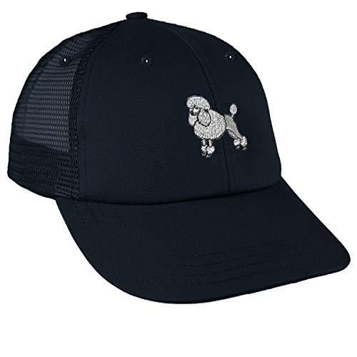 (Snapback Baseball Cap Poodle White Embroidery Dog Name Cotton Mesh Hat Snaps - Navy, Design)