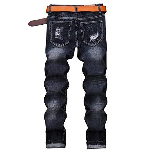 Uomo Elasticizzati Bobo Blu Bassa Di Jeans Vita Dritta Alta Pantaloni Senza Especial A Da Vintage Estilo Strappati 88 Cintura x7UxwX