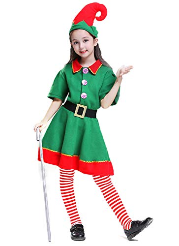 AREIA Christmas Elf Costumes for Kids with Hats Xmas Dressing Up Elf Outfits Buddy The Elf Costume (Size:140cm) -