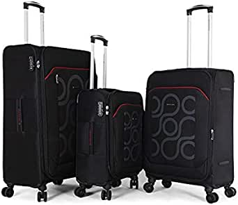 Giordano Soft Case Trolley Bag - Set Of 3 Pieces, Black, Unisex