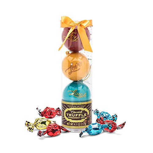 The Ornament Truffles Gift Set | Contains 9 Chocolate Truffles in Delicious Caramel, Hazelnut, and Milk Chocolate Flavors