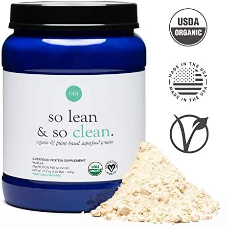 Ora Organic Vegan Protein Powder - 21g of Plant-Based Protein with Enzymes for Digestion - 20+ Superfoods, Dairy-Free, Gluten-Free, Soy-Free, Paleo, Keto-Friendly - Vanilla Flavor, 20 Servings