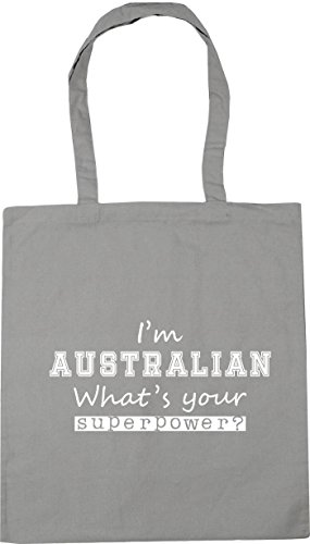 HippoWarehouse I'm Australian What's Your Superpower? Tote Shopping Gym Beach Bag 42cm x38cm, 10 litres Light Grey